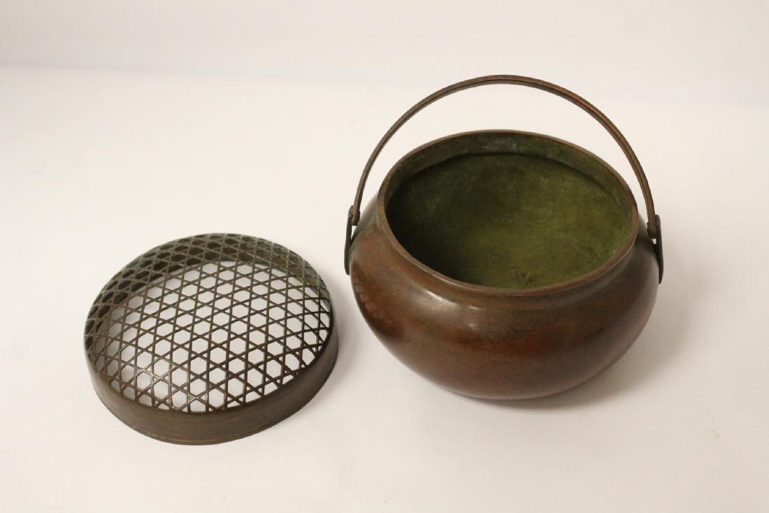Chinese bronze hand censer - 7