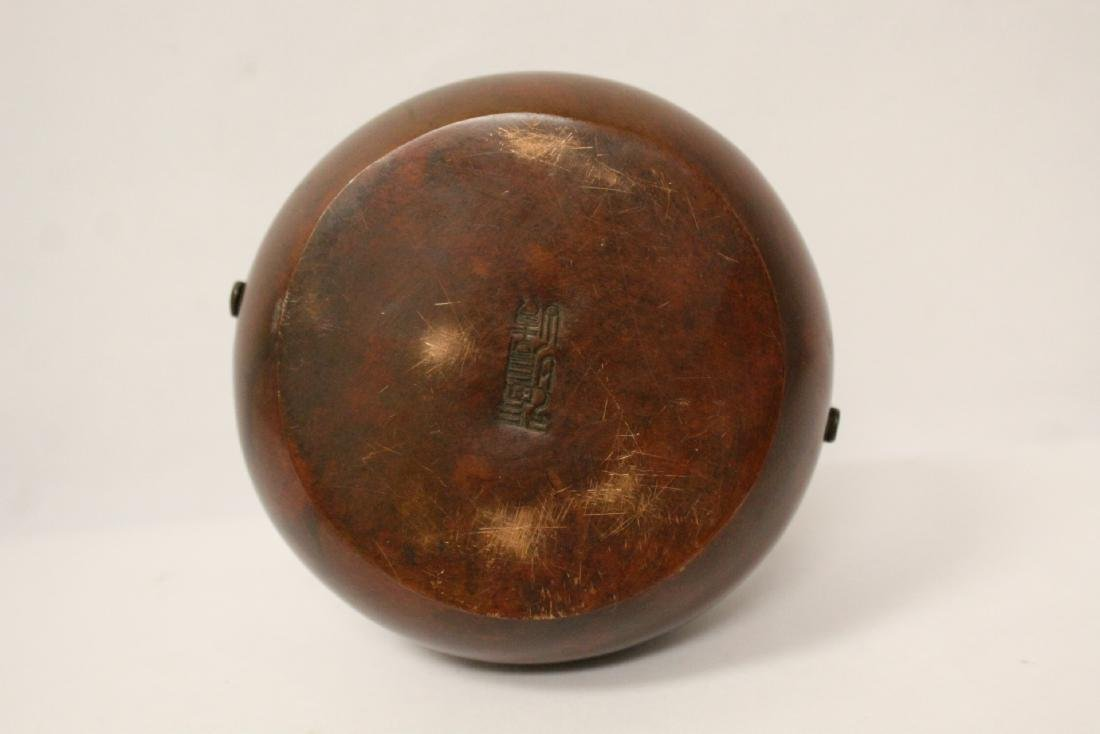Chinese bronze hand censer - 9
