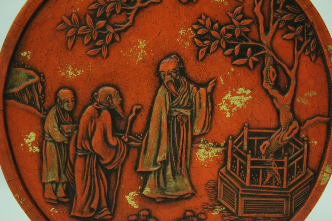 Chinese red round ink stick(?) - 5