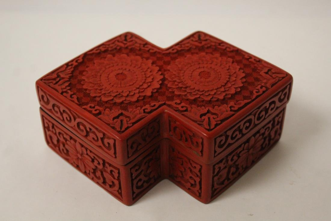 Unusual Chinese cinnabar box
