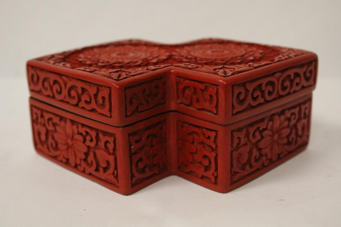 Unusual Chinese cinnabar box - 2