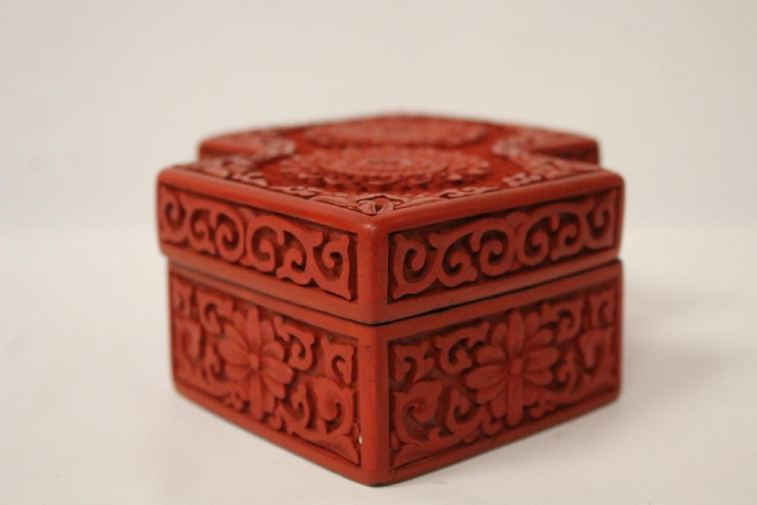 Unusual Chinese cinnabar box - 4