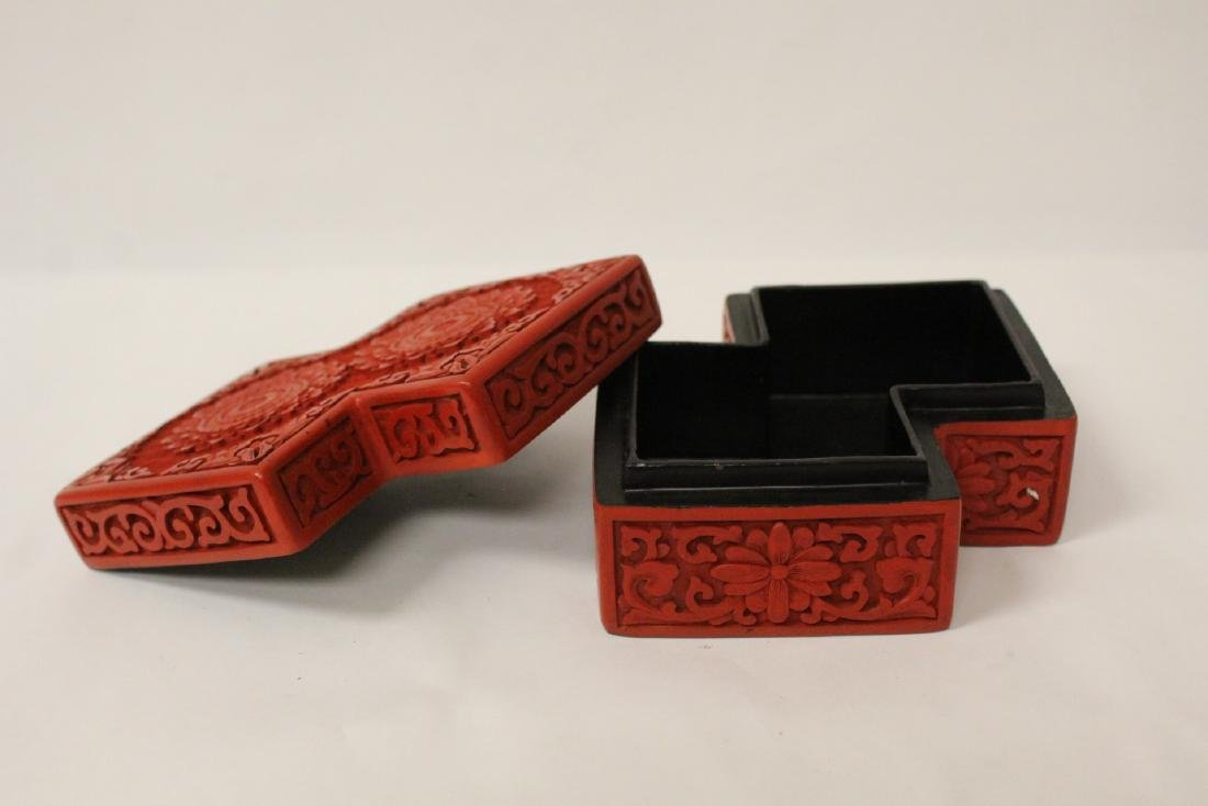 Unusual Chinese cinnabar box - 5