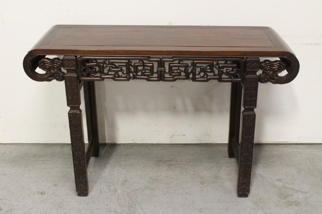 Chinese rosewood scroll table - 10