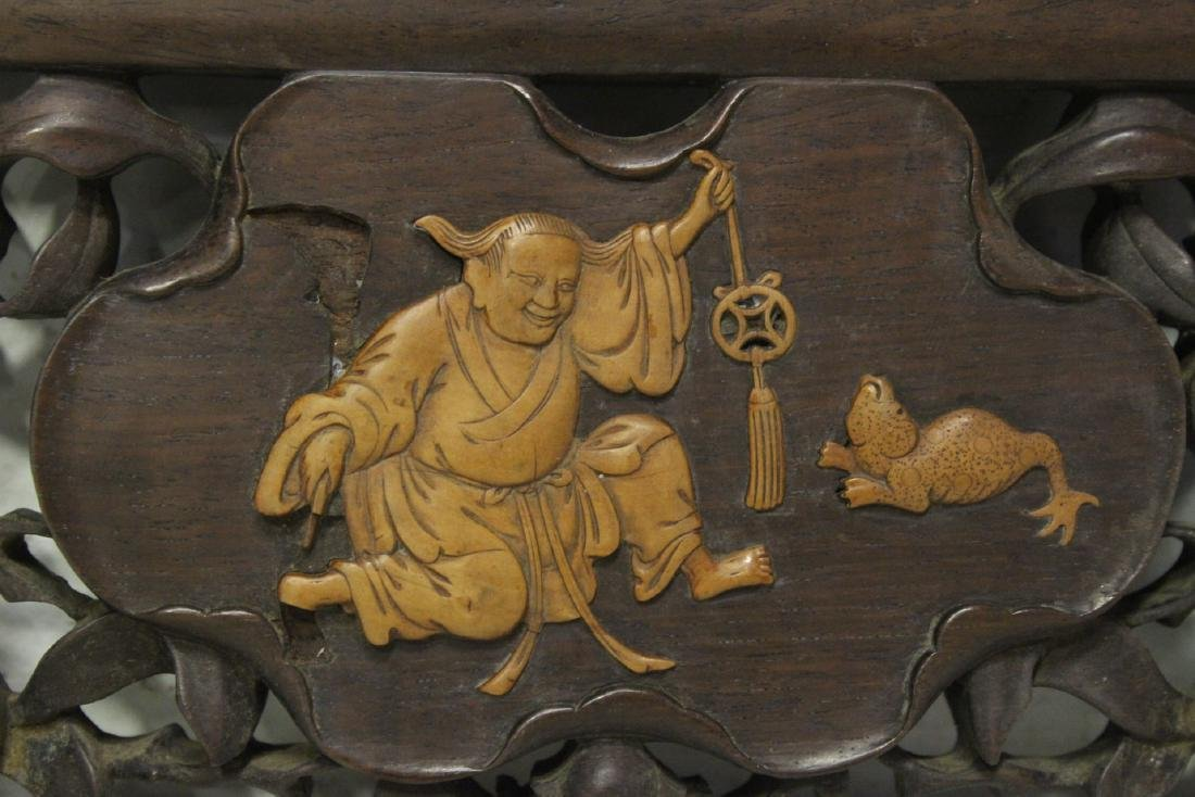 Chinese rosewood carving w/ huangyang wood overlay - 5