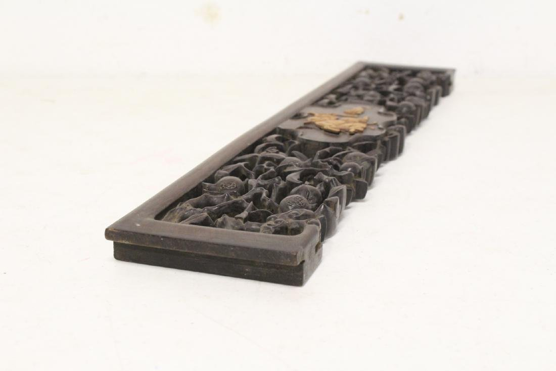 Chinese rosewood carving w/ huangyang wood overlay - 7