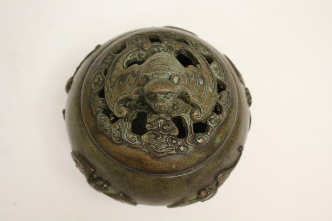 Chinese bronze covered censer - 5