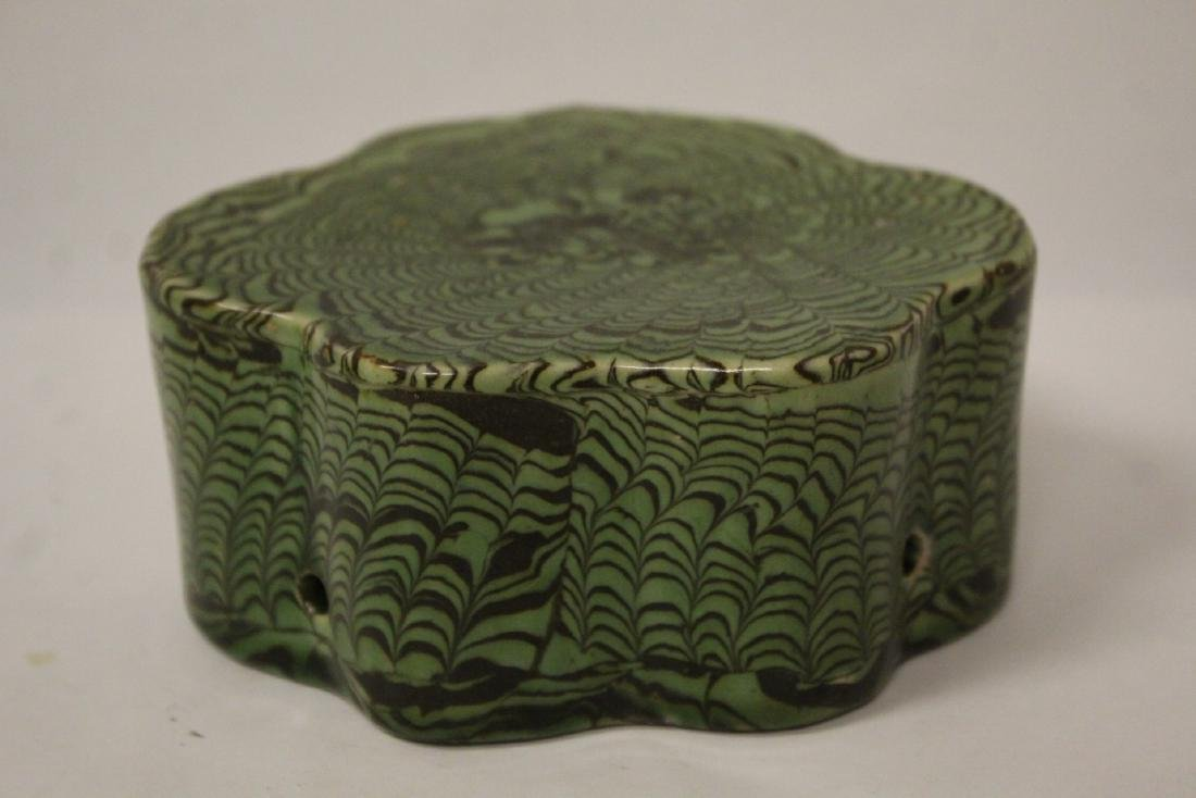 Chinese green marbled pillow - 5