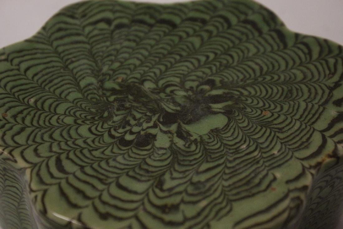 Chinese green marbled pillow - 7
