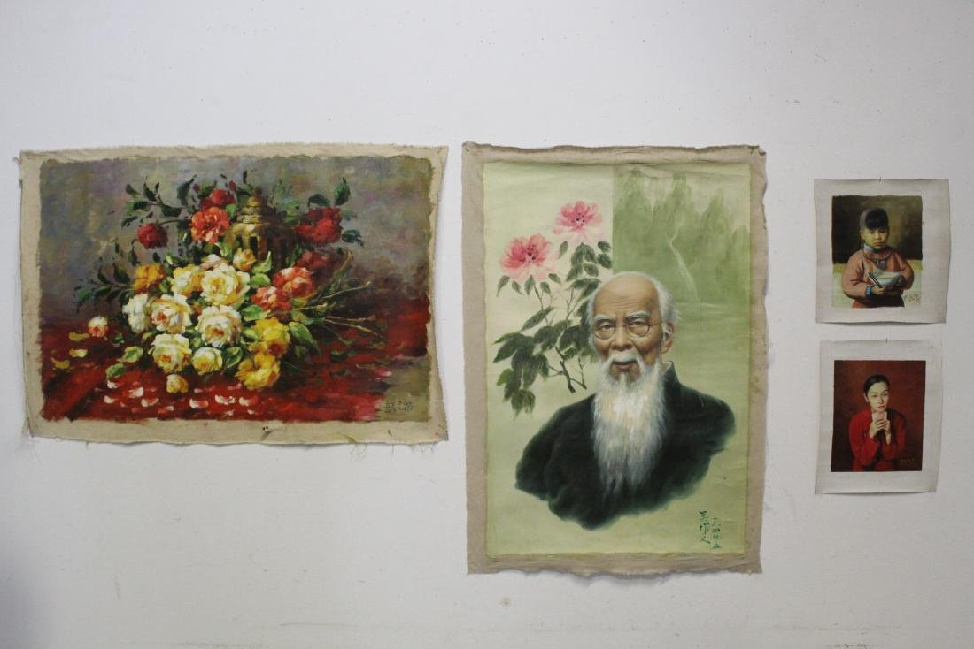 4 oil paintings; 3 portraits, and one still life