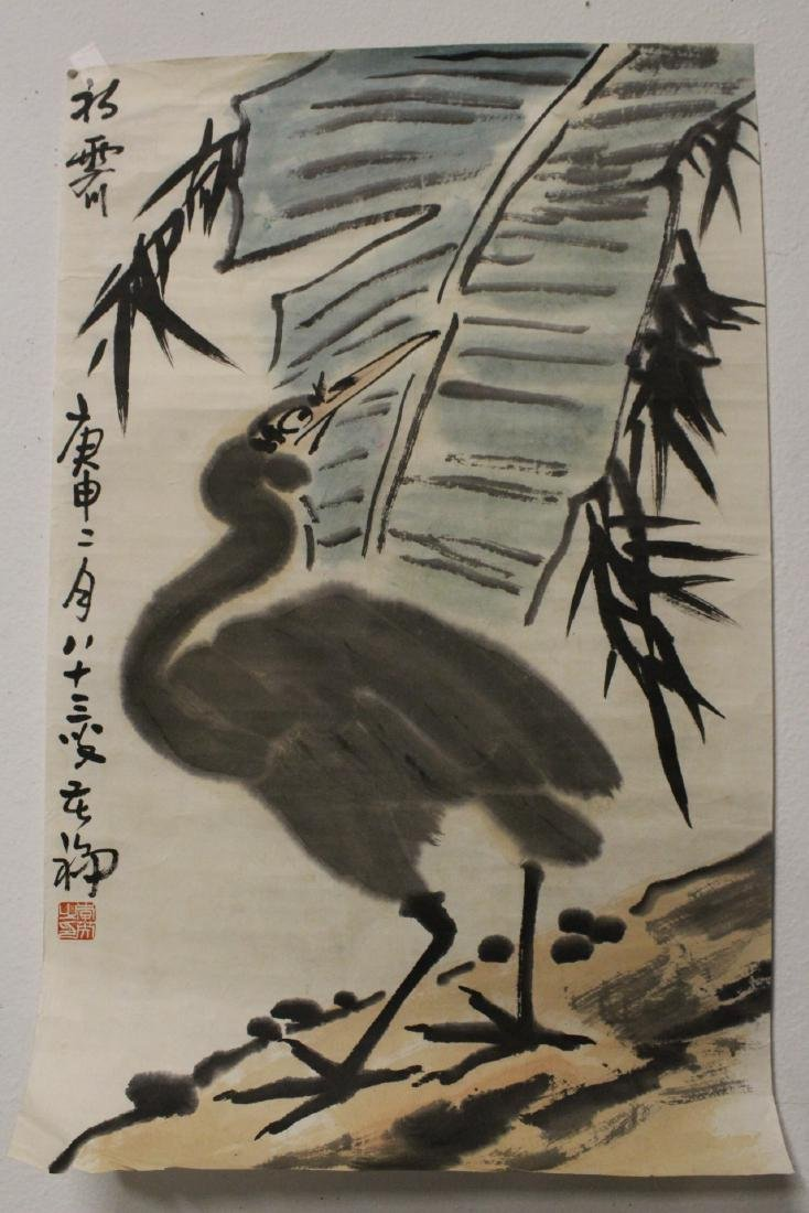 5 Chinese watercolor and calligraphy panels - 7
