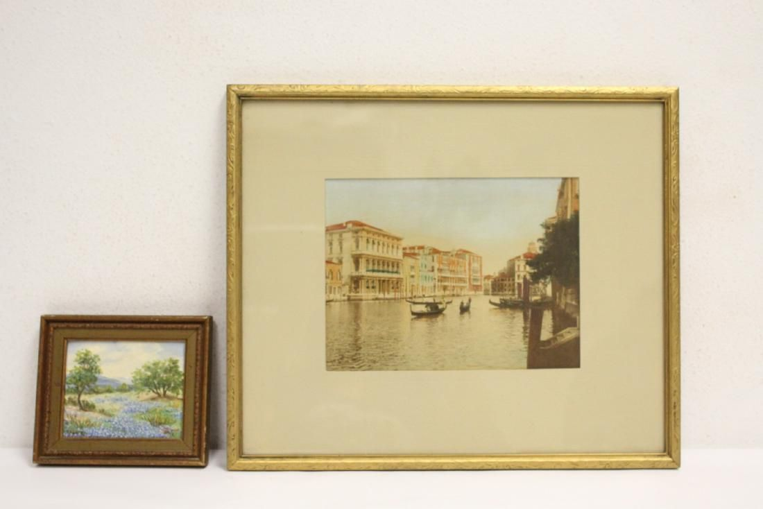 Vintage photo of Venice, & oil depicting Bonnet field
