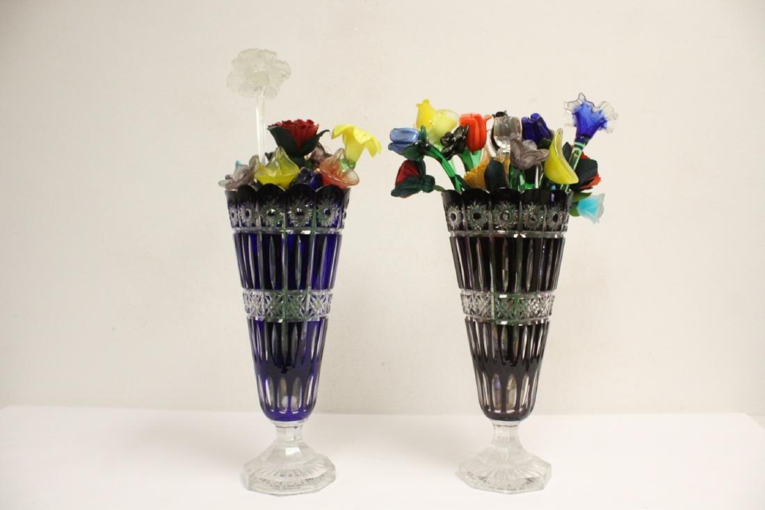 2 large Bohemian crystal vases w/ art glass flowers