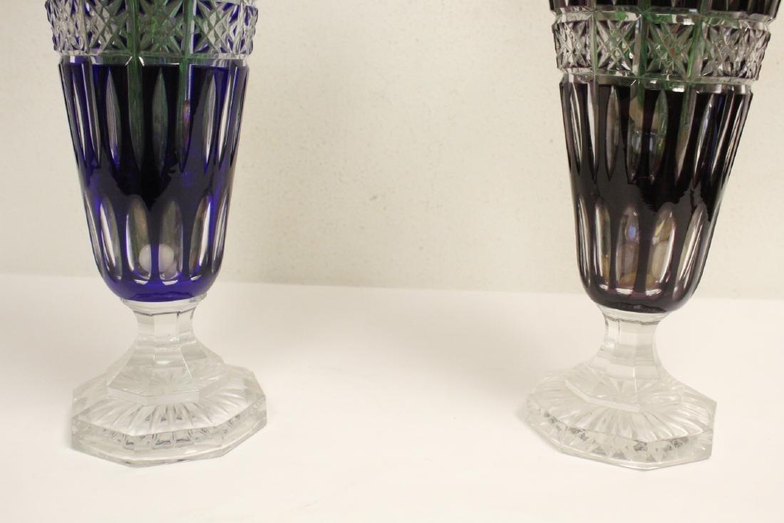 2 large Bohemian crystal vases w/ art glass flowers - 4