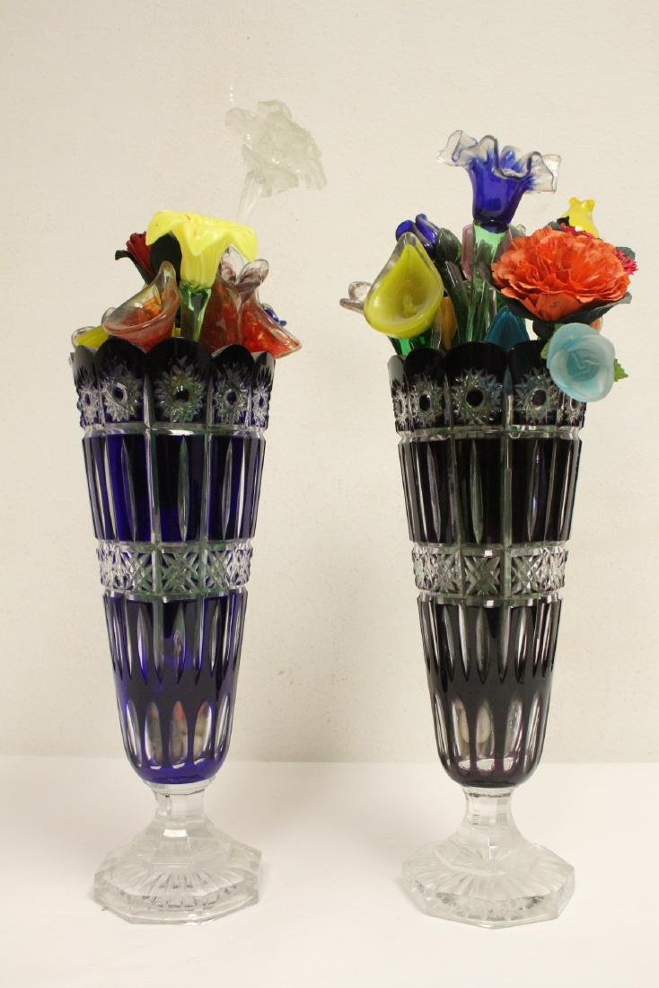 2 large Bohemian crystal vases w/ art glass flowers - 5