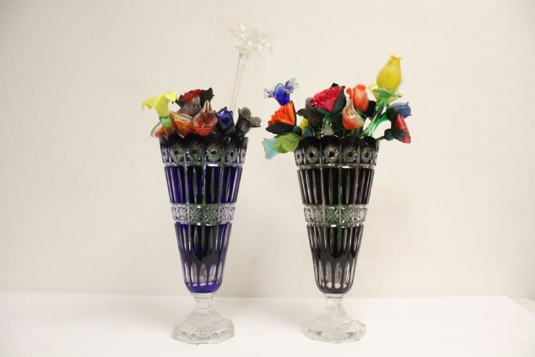 2 large Bohemian crystal vases w/ art glass flowers - 6
