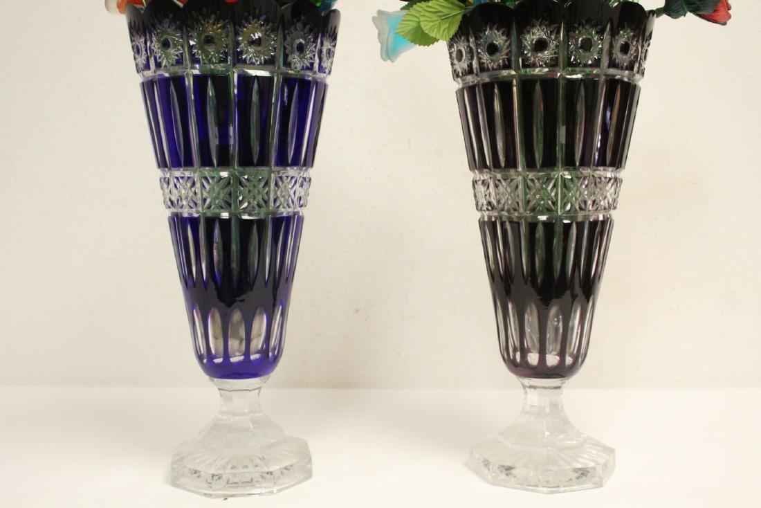 2 large Bohemian crystal vases w/ art glass flowers - 8