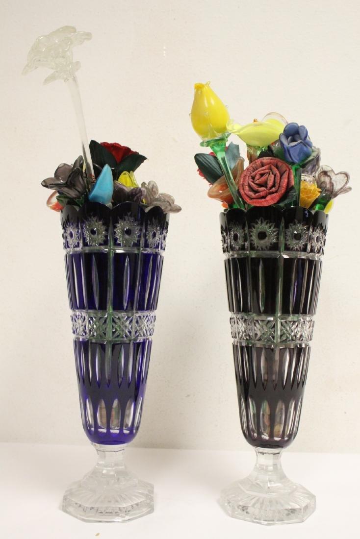 2 large Bohemian crystal vases w/ art glass flowers - 9