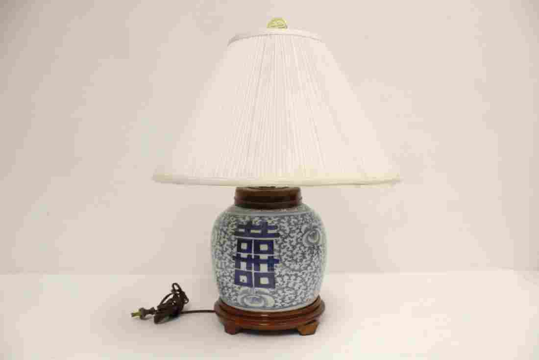 Chinese antique blue and white jar made as lamp