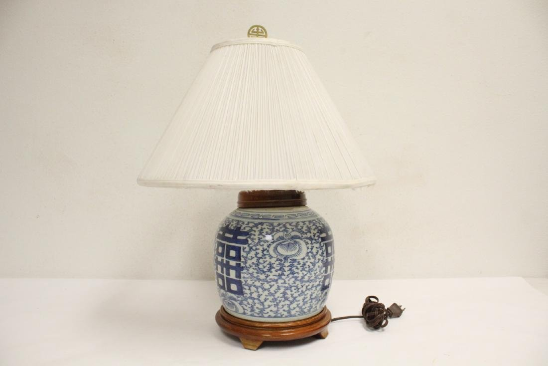 Chinese antique blue and white jar made as lamp - 2
