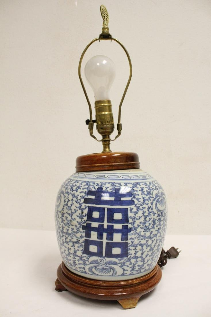 Chinese antique blue and white jar made as lamp - 3