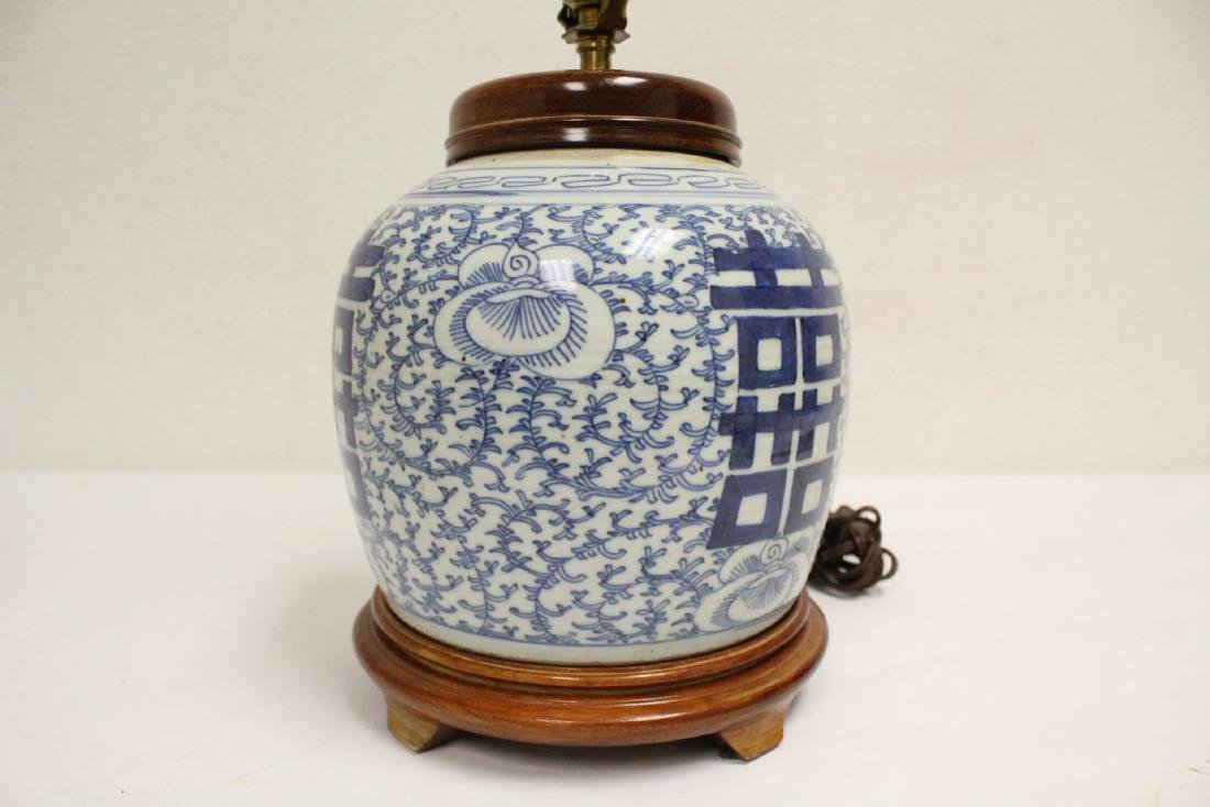Chinese antique blue and white jar made as lamp - 4