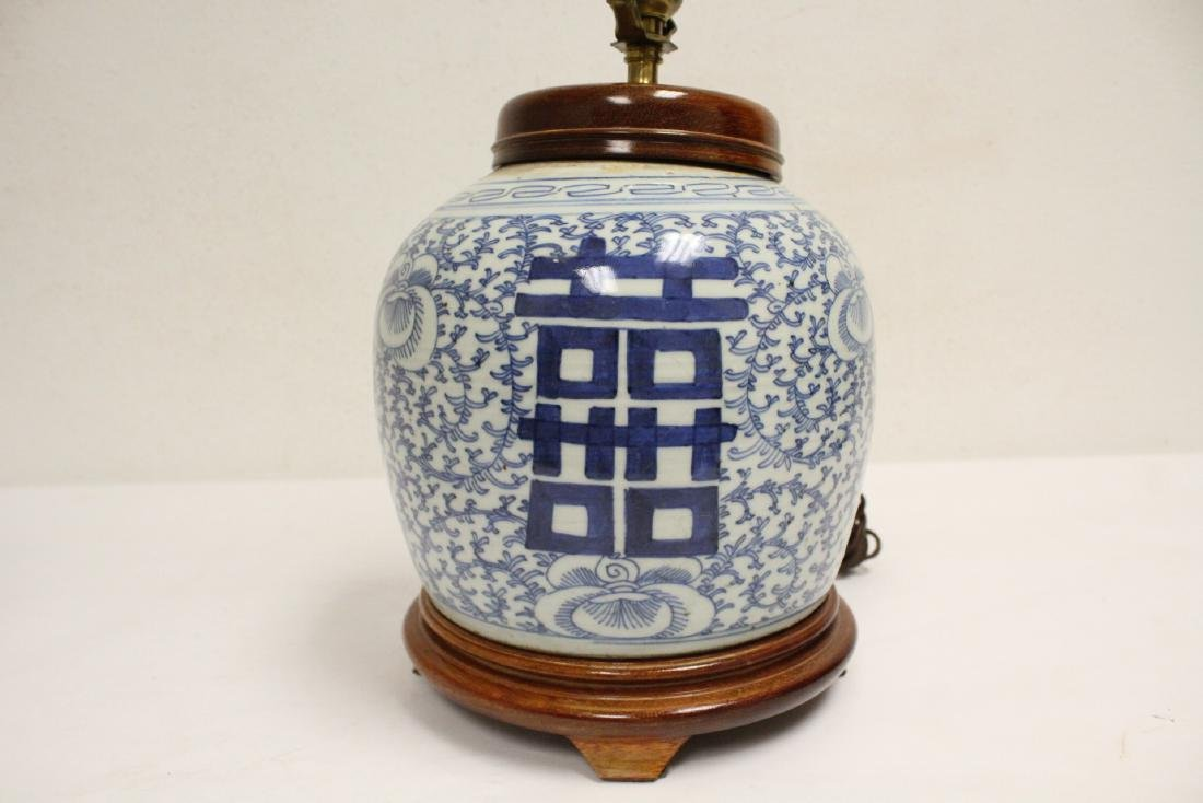 Chinese antique blue and white jar made as lamp - 5