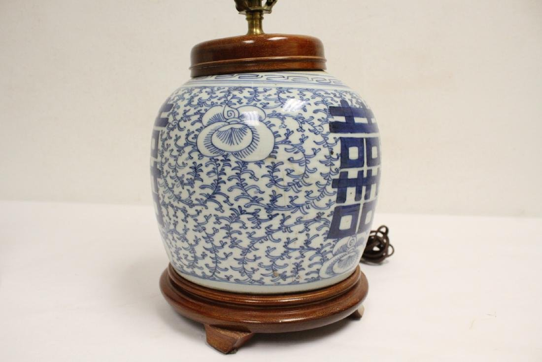 Chinese antique blue and white jar made as lamp - 8