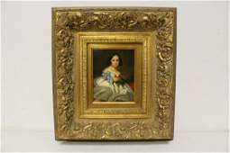 very beautiful oil on panel painting with gilt frame