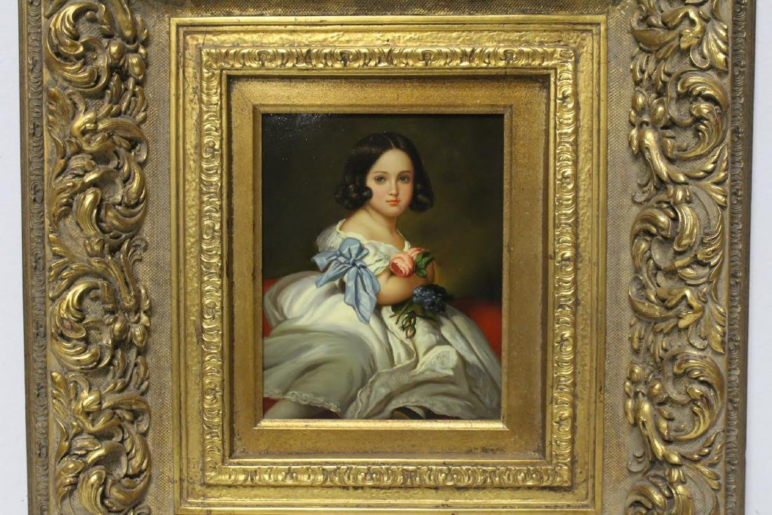very beautiful oil on panel painting with gilt frame - 2