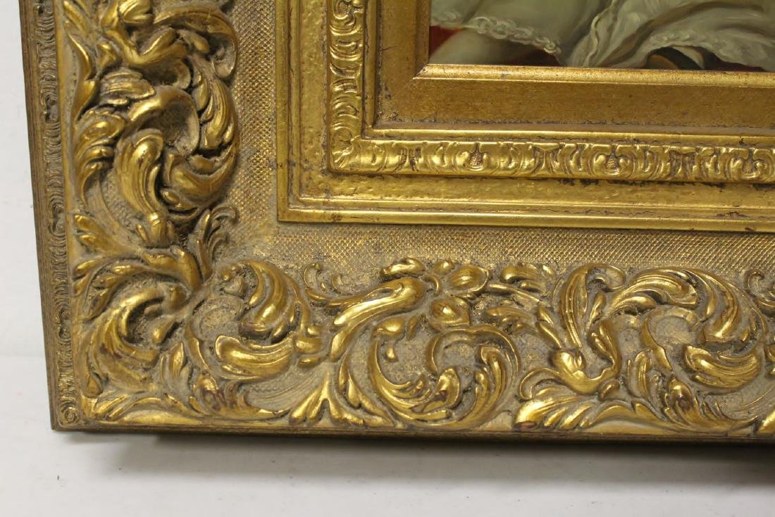 very beautiful oil on panel painting with gilt frame - 9