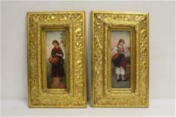 Pair beautiful French 19th/20th c. oil on panel