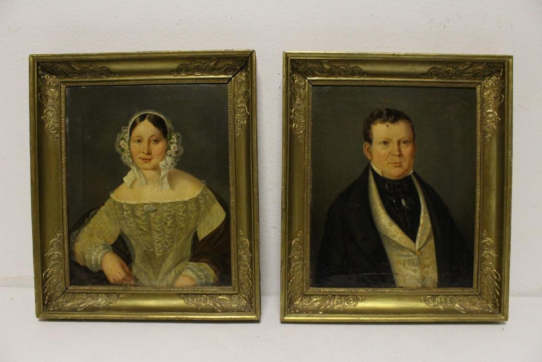 Pair 19th century o/c painting