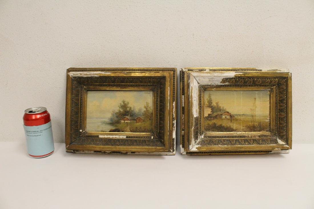 Pair 19th century oil on panel painting