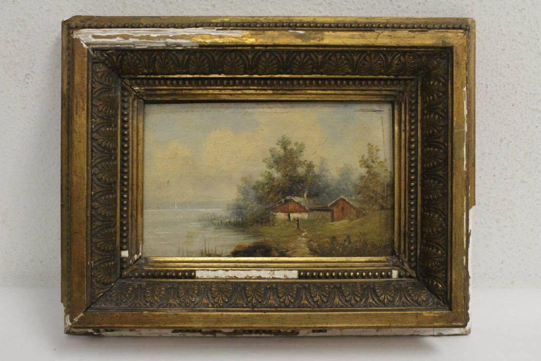 Pair 19th century oil on panel painting - 2