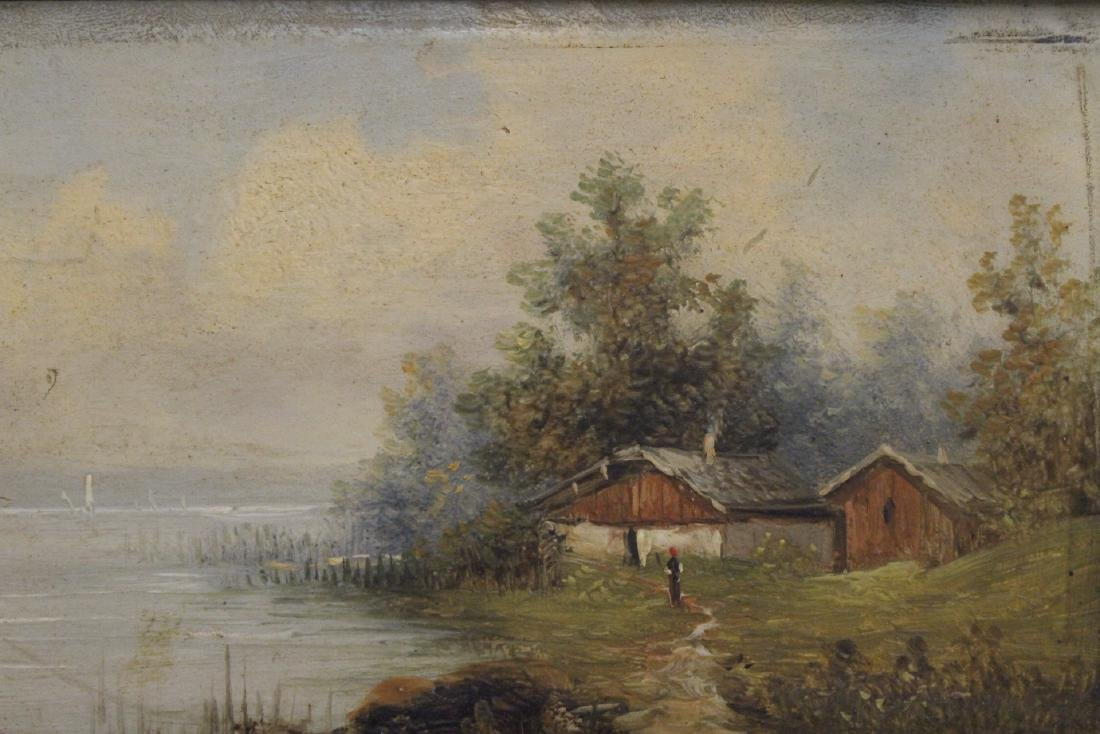 Pair 19th century oil on panel painting - 3