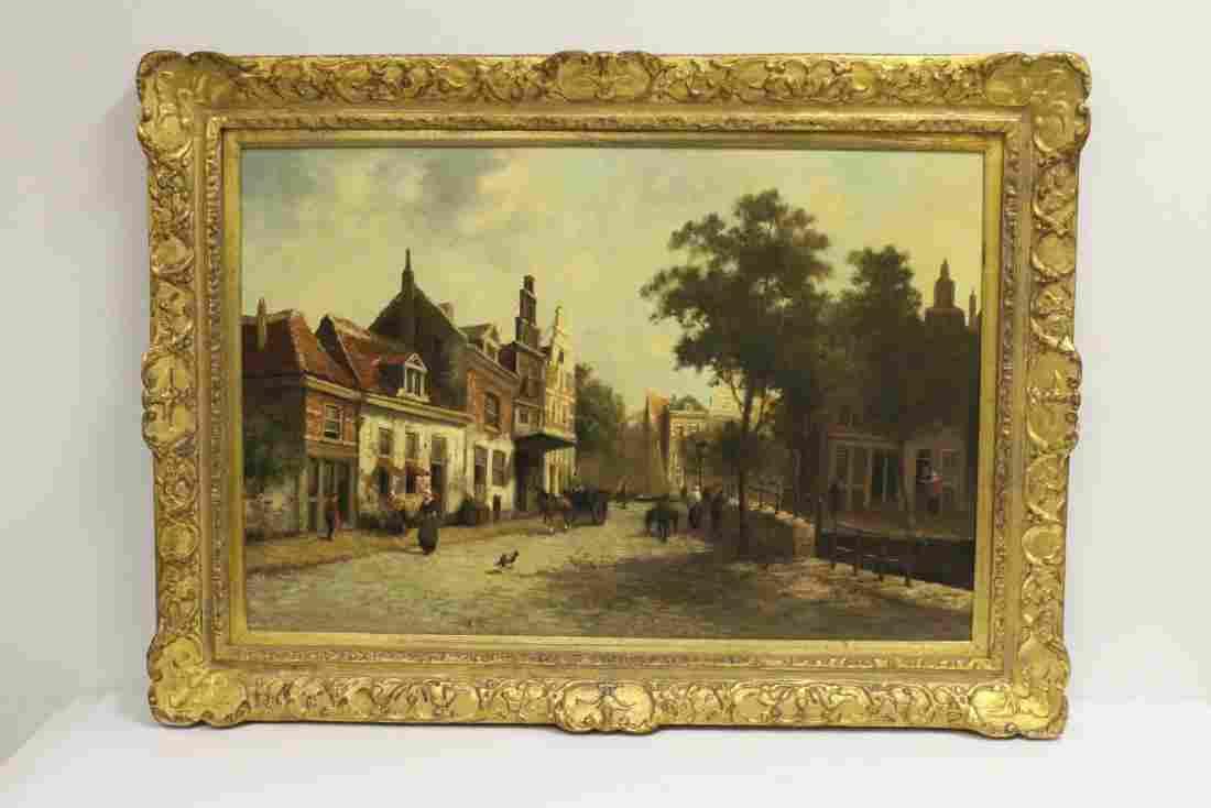 "Large oil on canvas ""Dutch street scene"", signed"