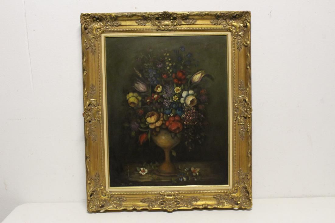 "Large oil on canvas ""still life"" with gilt frame"