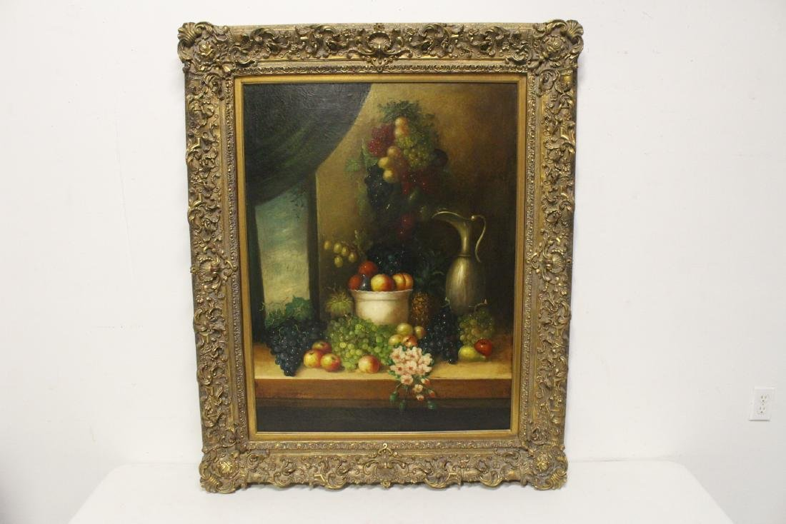 "Large oil on canvas ""still life"" with fancy gilt frame"