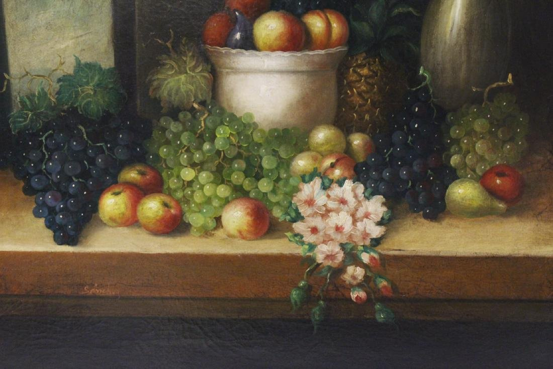 "Large oil on canvas ""still life"" with fancy gilt frame - 3"