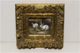 "Oil on canvas ""2 rabbits"" with heavy gilt frame"