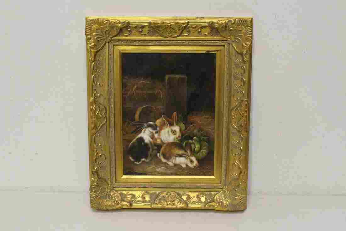 """Oil on canvas """"rabbits in farm"""" with gilt frame"""