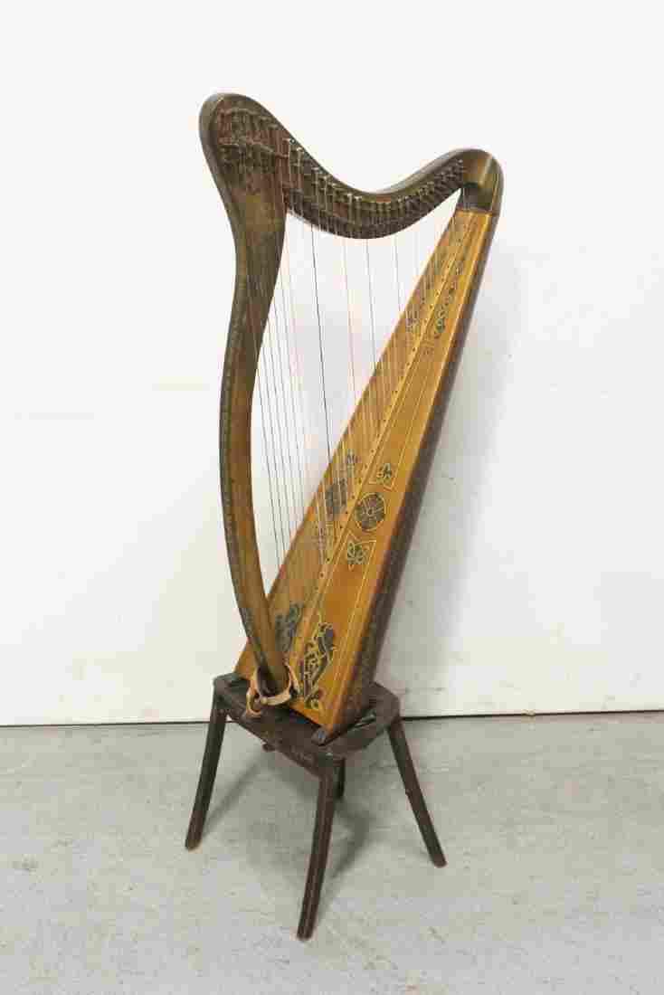 19th/20th c. Irish harp decorated w/ painted wood