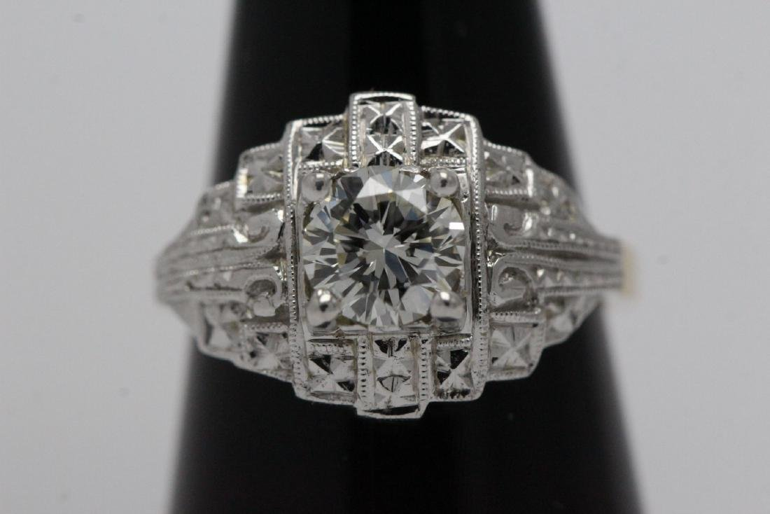 14K W/G and Y/G diamond ring w/ GIA certificate