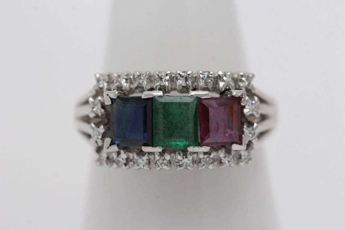 18K W/G ring set with color stones and diamonds