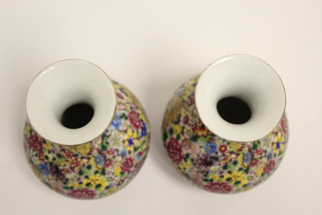 Pair Chinese famille rose porcelain vases - 5