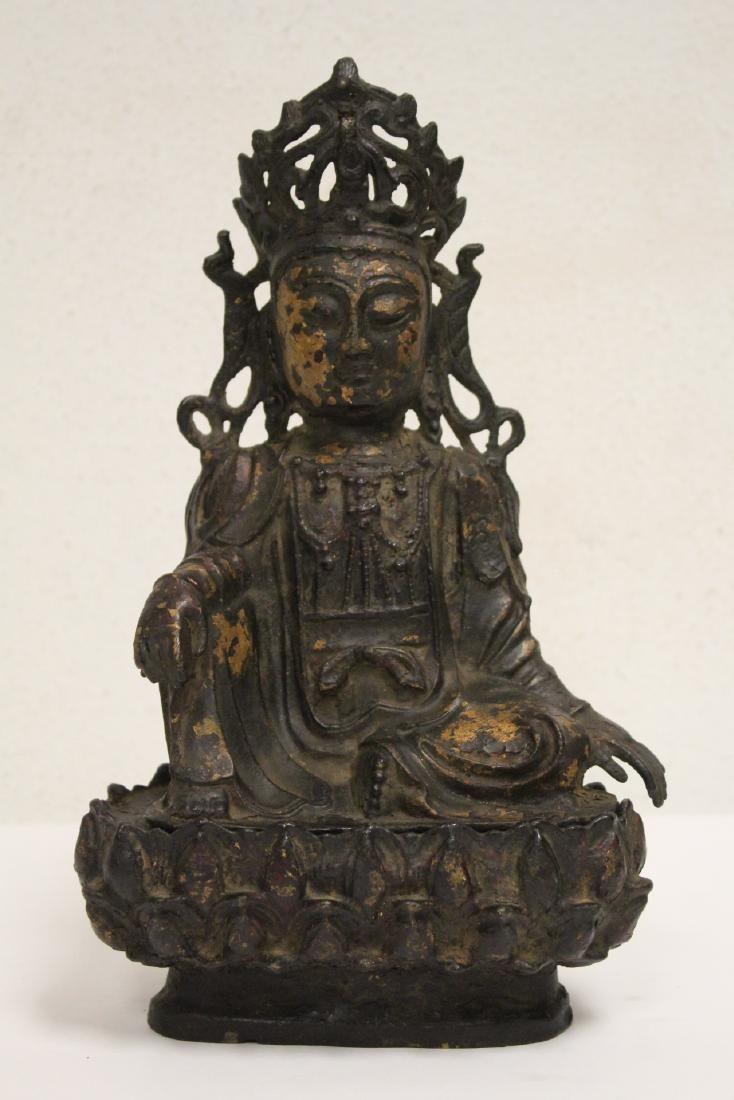 Chinese gilt bronze Buddha with bronze seat