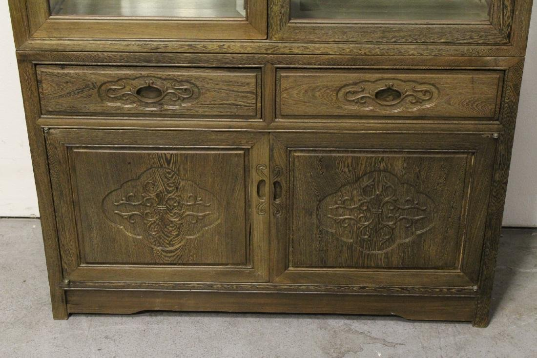 Pair beautiful Chinese jichi wood display cases - 10