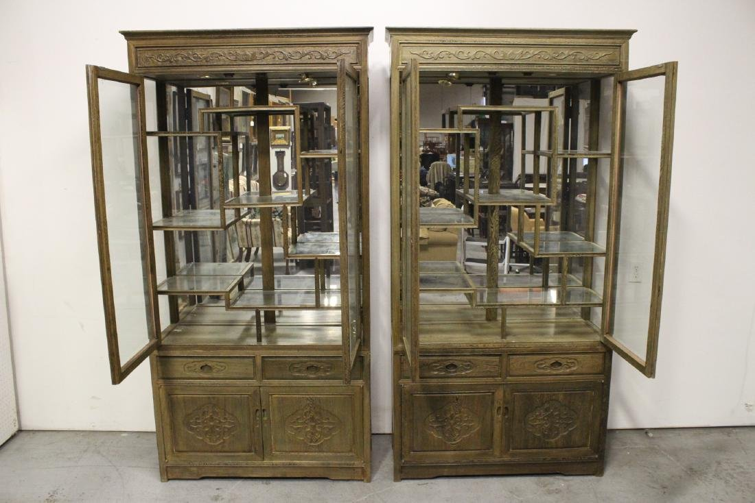 Pair beautiful Chinese jichi wood display cases - 2
