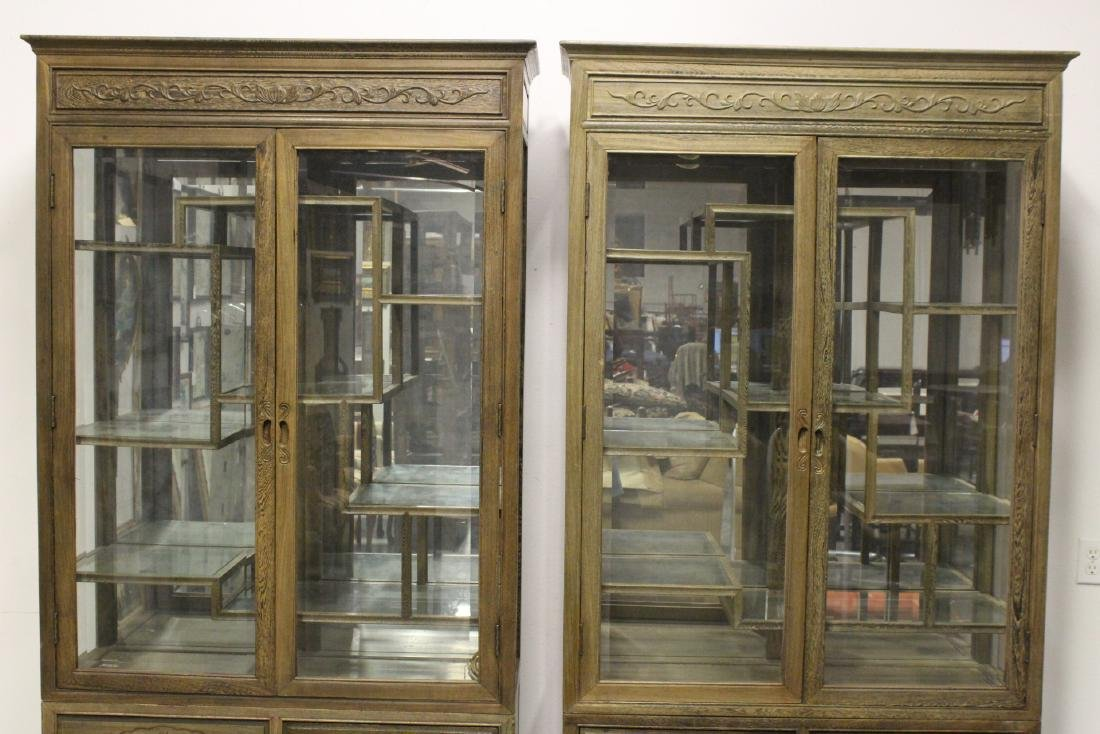Pair beautiful Chinese jichi wood display cases - 3